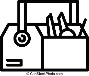 Carpenter tool box icon, outline style