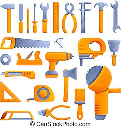 Carpenter tools icons set, cartoon style