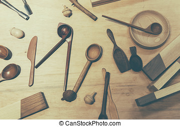carpenter tools on wood table background
