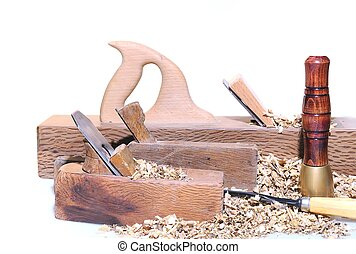 Carpenter tools. - Isolated carpenter tools on a white...