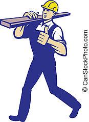 Carpenter Tradesman Carrying Timber Lumber - Illustration of...