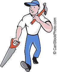 carpenter tradesman worker hammer and saw walking