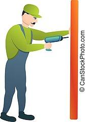 Carpenter use electric drill icon, cartoon style - Carpenter...
