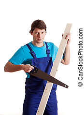 Carpenter with a wood saw