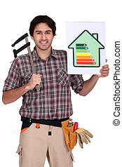 Carpenter with calipers and energy rating guide