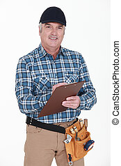 Carpenter with clipboard