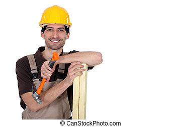 Carpenter with hammer