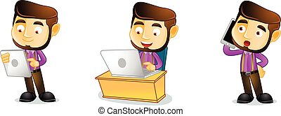 Carpenter with laptop vector