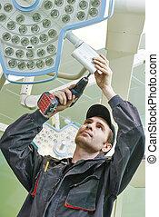 carpenter with screwdriver