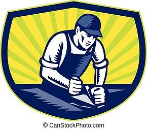 Carpenter Woodworker Plane Shield Woodcut - Illustration of...