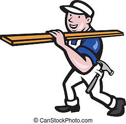 Carpenter Worker Carrying Timber Cartoon - Illustration of a...