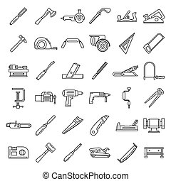 Carpenter working icon set, outline style