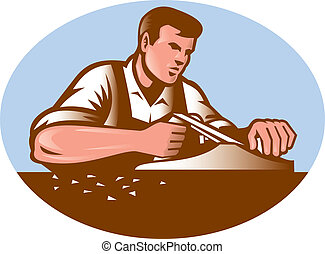 Carpenter Working With Smooth Plane Retro - Illustration of...