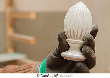 carpenter's, ács, fehér, kéz, részletez, shop.