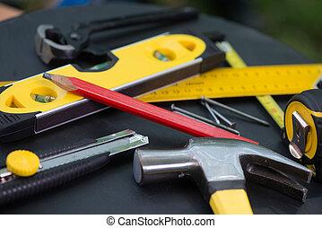 carpenter's, attrezzi, su, tavola