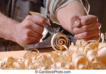 carpenter's, avião, homem, mãos