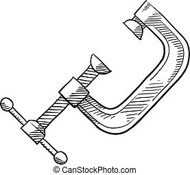 Carpenter's C Clamp sketch - Doodle style C Clamp for...