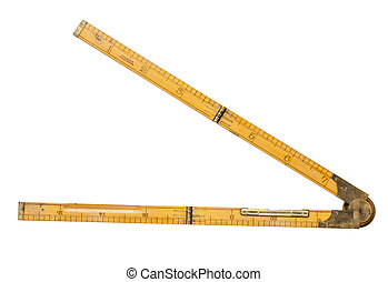 carpenter's folding rule of 19th century with brass level ...