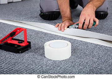 carpenter's, mano, acostado, alfombra