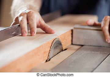 carpenter's, taglio, legno,  tablesaw, mani