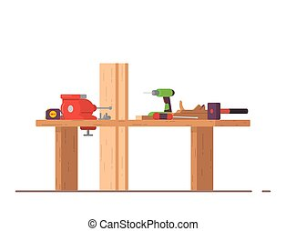 Carpenters woodwork working place. Wooden workbench with planks, hammer and screwdriver, measuring tape. Table for carpentry with vise. Workshop with equipment.
