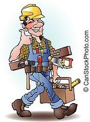 carpentiere, cartone animato, illustrazione