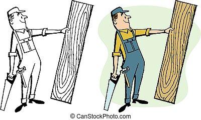 carpentiere, con, legno