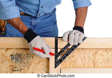 carpentiere, con, quadrato intelaiatura