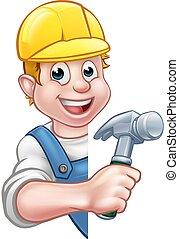 carpentiere, costruttore, cartone animato, carattere