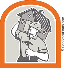 carpentiere, costruttore, portante, casa, retro