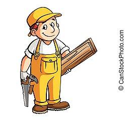 carpentiere, illustrazione, cartone animato