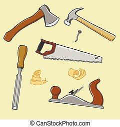carpentiere, illustrazione, strumento