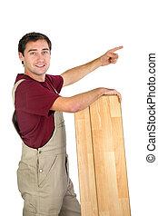 carpentiere, indicando, vuoto, copyspace