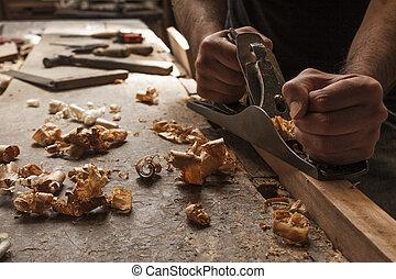 carpentiere, lavorativo, con, aereo