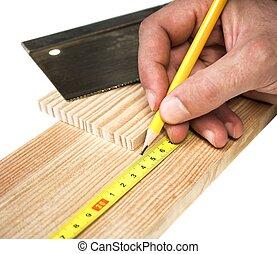carpentiere, lavorativo, con, matita, metro, e, asse legno