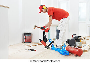 carpentiere, lavoratore, accoppiamento, parket, pavimento