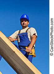 carpentiere, lavoratore, cima, tetto
