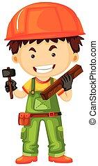 carpentiere, presa a terra, martello, e, legno