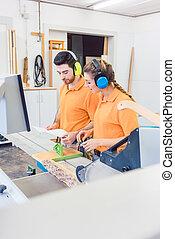 carpentiere, programmazione, computer, controllato, sega