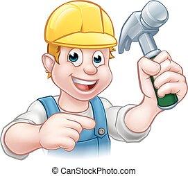carpentiere, uomo tuttofare, in, cappello duro, presa a terra, martello, attrezzo