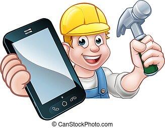 carpentiere, uomo tuttofare, telefono, concetto