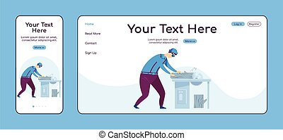 Carpentry adaptive landing page flat color vector template. Circular saw work mobile and PC homepage layout. Repairman one page website UI. Home repairs webpage cross platform design
