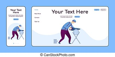 Carpentry adaptive landing page flat color vector template. Craftsman at work mobile and PC homepage layout. Repairman one page website UI. Home repairs webpage cross platform design