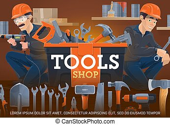 Carpentry and locksmith work tools shop. Workers holding ...