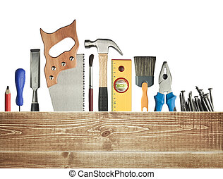 Carpentry background. Tools underneath the wood plank.