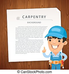 Carpentry Background with Workman. In the EPS file, each...