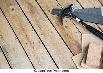 carpentry, bakgrund, av, trä plankor, in, a, verkstad