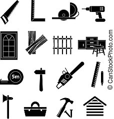 Carpentry icons set
