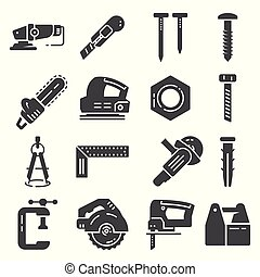 Carpentry industry equipment icons flat set on white background