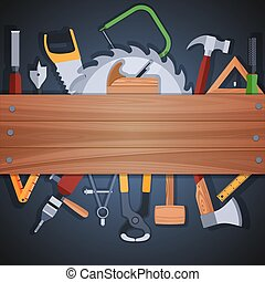 Carpentry tools background - Carpentry woodworks background ...